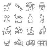 Linea insieme di vettore dell'immondizia dell'icona Contiene tali icone come la buccia della banana, il Fishbone, il guscio d'uov illustrazione vettoriale