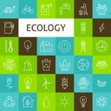 Linea insieme di vettore di Art Ecology Green Power Icons Fotografie Stock