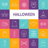 Linea insieme di vettore di Art Modern Halloween Holiday Icons Immagine Stock Libera da Diritti