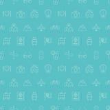 Linea insieme di viaggio del modello dell'icona Immagine Stock