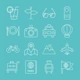 Linea insieme di viaggio dell'icona Fotografia Stock