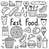 Linea insieme disegnato a mano degli alimenti a rapida preparazione di vettore di scarabocchio Immagine Stock