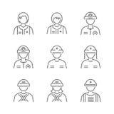 Linea insieme medico dell'icona dei soccorritori dell'avatar di stile Fotografie Stock