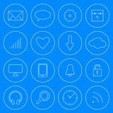 Linea insieme moderno del cellulare e di web di vettore di stile delle icone di Internet Fotografie Stock Libere da Diritti