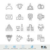 Linea insieme relativo di vettore di nozze delle icone Simboli lineari di matrimonio, pittogrammi, segni illustrazione di stock