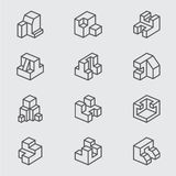 Linea isometrica di base icona Immagini Stock