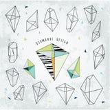 Linea la geometria cristal di forme Progettazione dei diamanti Alchemia, religio royalty illustrazione gratis
