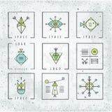 Linea la geometria di forme stile del poligono con le forme geometriche illustrazione di stock