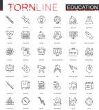 Linea lacerata sottile icone di istruzione scolastica di web messe Progettazione dell'icona del colpo precipitata profilo illustrazione vettoriale