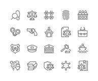 Linea legge e giustizia Icons Immagine Stock Libera da Diritti