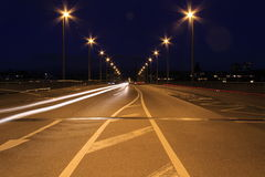 Linea leggera ed il ponte di Johanniter a Basilea Fotografie Stock