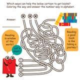 Linea libri del gioco del labirinto del ritrovamento del fumetto Immagini Stock Libere da Diritti