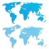 Linea mappa di mondo blu Immagine Stock Libera da Diritti