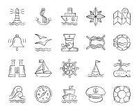 Linea marina insieme di tiraggio del carbone di vettore delle icone illustrazione vettoriale
