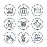 Linea medievale icone di guerra nei cerchi su bianco illustrazione di stock