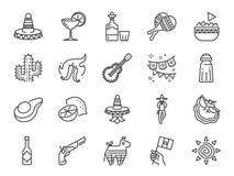 Linea messicana insieme dell'icona Ha compreso le icone come maracas, il piñata, il cappello tradizionale, il nacho, la salsa pi illustrazione vettoriale