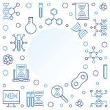 Linea minima struttura di vettore biologico di scienza e di ingegneria illustrazione vettoriale