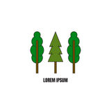Linea modello del logotype di stile con gli alberi Fotografia Stock