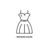 Linea modello del logotype di stile con il vestito da sposa Fotografia Stock Libera da Diritti