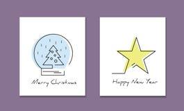 Linea modello del logotype di stile con l'albero di Natale e la stella Fotografia Stock Libera da Diritti