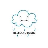Linea modello del logotype di stile con la nuvola e le gocce di pioggia Immagine Stock