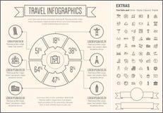 Linea modello di viaggio di Infographic di progettazione Fotografie Stock