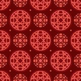 Linea modello senza cuciture del cerchio di simmetria rossa Fotografie Stock