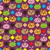 Linea modello senza cuciture del diamante del coniglio dell'orso della rana del gatto Fotografie Stock