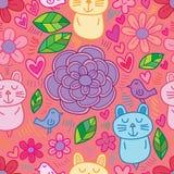 Linea modello senza cuciture sconosciuto dell'uccello del gatto del fiore royalty illustrazione gratis