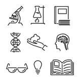 Linea moderna icone di studio di conoscenza di scienza e Fotografia Stock
