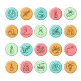 Linea moderna icone di vettore di aromaterapia e di oli essenziali Elemento - diffusore di aromaterapia, bruciatore a nafta, cand Fotografia Stock Libera da Diritti