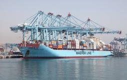 Linea nave porta-container di Maersk Fotografia Stock Libera da Diritti