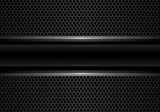 Linea nera astratta dell'argento dell'insegna sul vettore di lusso di struttura del fondo del cerchio di progettazione grigio scu royalty illustrazione gratis