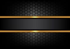 Linea nera astratta insegna dell'oro sul vettore di lusso moderno del fondo di progettazione del modello della maglia di esagono Immagine Stock Libera da Diritti