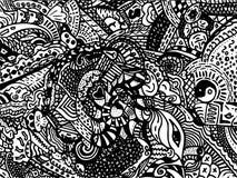 Linea nera di disegno su fondo bianco per fondo astratto Fotografia Stock Libera da Diritti