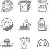 Linea nera raccolta della prima colazione delle icone Immagini Stock