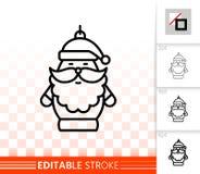Linea nera semplice d'attaccatura icona del Babbo Natale di vettore illustrazione di stock