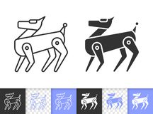 Linea nera semplice icona del cane del robot di vettore illustrazione vettoriale