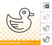 Linea nera semplice icona dell'anatra di gomma di vettore illustrazione di stock