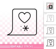 Linea nera semplice icona della bolla di chiacchierata di amore di vettore illustrazione vettoriale