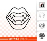 Linea nera semplice icona delle zanne del vampiro di vettore illustrazione di stock