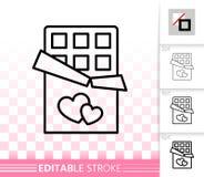 Linea nera semplice icona dolce della barra di cioccolato di vettore illustrazione vettoriale