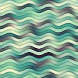 Linea ondulata modello di Teal Navy White Color Shades del quadro televisivo dell'oceano senza cuciture di pendenza Fotografia Stock Libera da Diritti