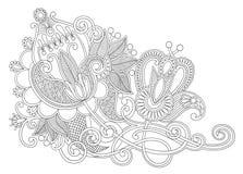 Linea originale progettazione decorata di tiraggio della mano del fiore di arte Fotografie Stock