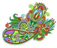 Linea originale progettazione decorata di tiraggio della mano del fiore di arte Immagini Stock Libere da Diritti