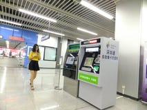 Linea 11, paesaggio dell'interno della metropolitana di Shenzhen della stazione della metropolitana di Baoan Fotografie Stock