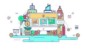 Linea piana affare di animazione e progettazione grafica di tecnologia di flusso di lavoro nel segno di affari creativi e nel fon illustrazione di stock