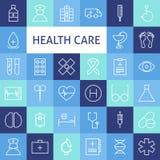 Linea piana Art Modern Healthcare di vettore ed icone della medicina messe Fotografia Stock
