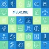 Linea piana Art Modern Medicine di vettore ed icone sane di vita messe Immagini Stock
