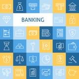 Linea piana Art Modern Money Finance di vettore e settore bancario I Immagine Stock